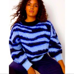 Anthropologie Salma Blue Eyelash Plus Sweater 2X